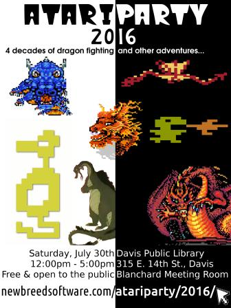 Atari Party 2016 - Davis Public Library, 315 E 14 St Davis - Saturday, July 30th, 12pm-5pm